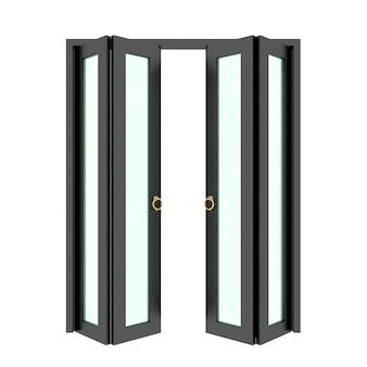 Porta dobrável preta com grade 3d