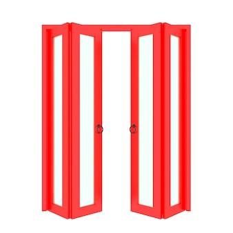 Porta dobrável vermelha com grade 3d