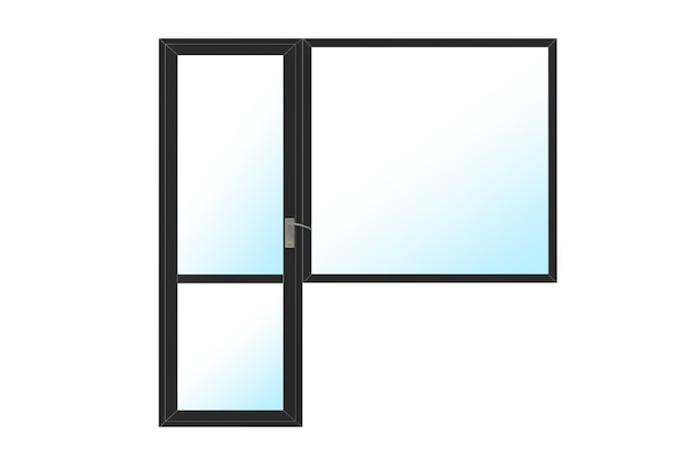 Porta e janela da sacada de plástico pvc de metal preto e janela em um fundo branco. renderização 3d