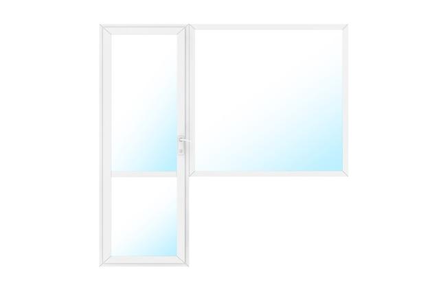 Porta e janela da varanda do pvc plástico do metal branco e janela em um fundo branco. renderização 3d