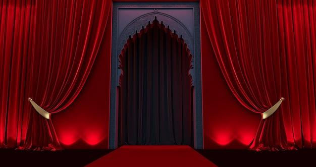 Porta em estilo oriental árabe, porta árabe preta com cortina vermelha