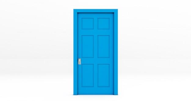 Porta fechada azul isolada no fundo branco ... renderização em 3d