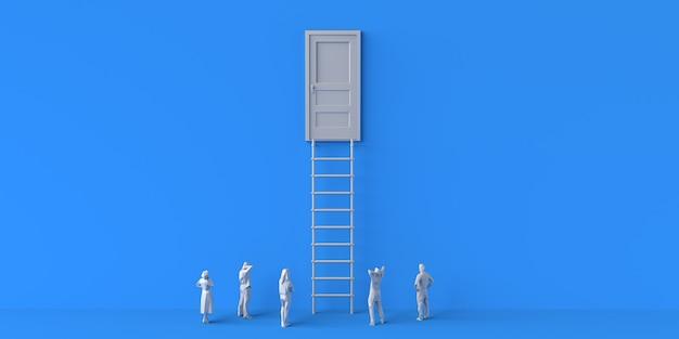Porta fechada com escadas e observação de pessoas. copie o espaço. ilustração 3d.