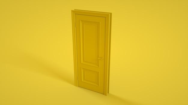 Porta fechada isolada em fundo amarelo. ilustração 3d.