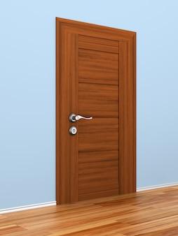 Porta fechada no corredor. ilustração 3d