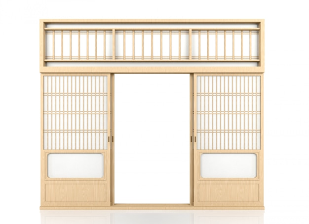 Porta japonesa tradicional de madeira