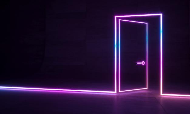 Porta neon abstrata