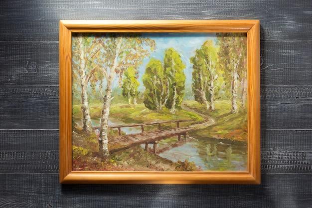 Porta-retrato com textura de madeira Foto Premium