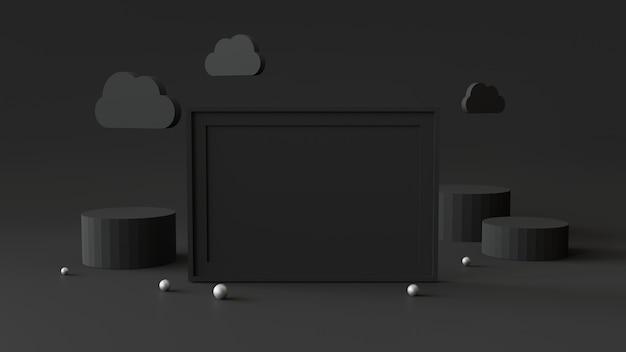 Porta-retrato em branco com pódio de cilindro. abstrato geométrico para exibição ou maquete. renderização em 3d.