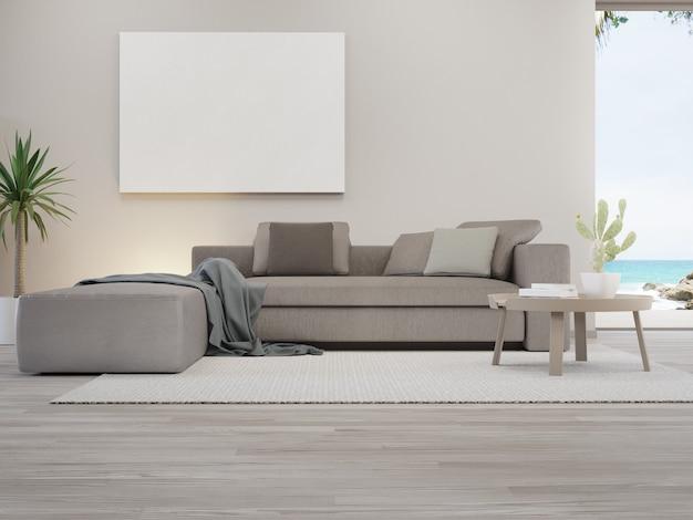 Porta-retrato em branco perto do sofá no tapete da grande sala de estar em uma casa moderna ou villa de luxo