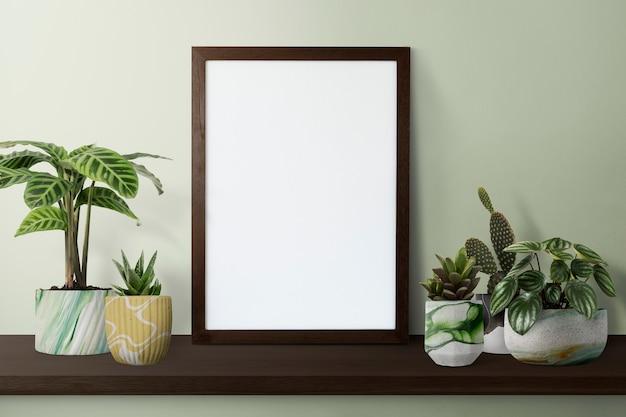 Porta-retrato moderno escuro em uma prateleira com plantas