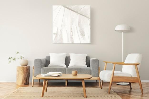 Porta-retrato na parede com interior de casa escandinava