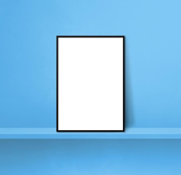 Porta-retrato preto encostado em uma prateleira azul. ilustração 3d. modelo de maquete em branco. fundo quadrado