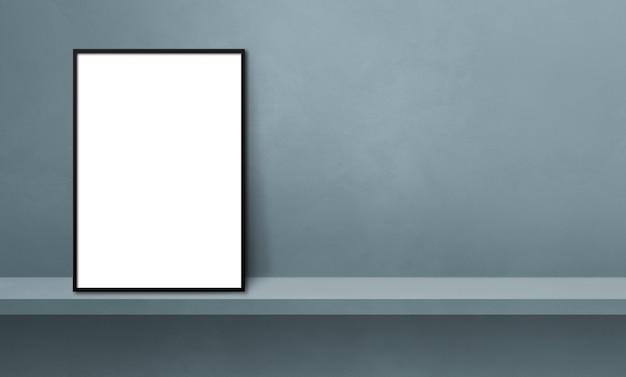 Porta-retrato preto encostado em uma prateleira cinza. ilustração 3d. modelo de maquete em branco. banner horizontal