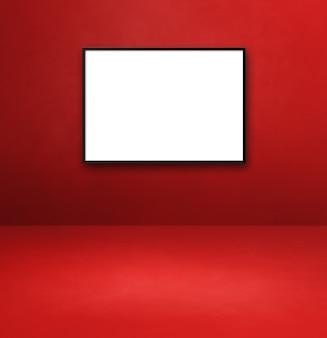 Porta-retrato preto pendurado em uma parede vermelha. modelo de maquete em branco