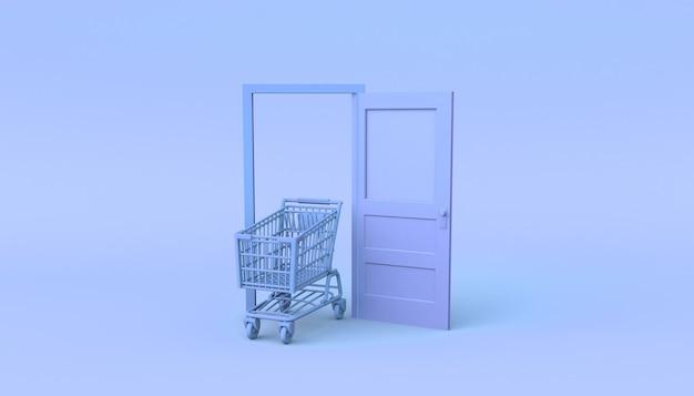 Porta rosa pastel aberta com carrinho de compras. ilustração 3d. mínimo.