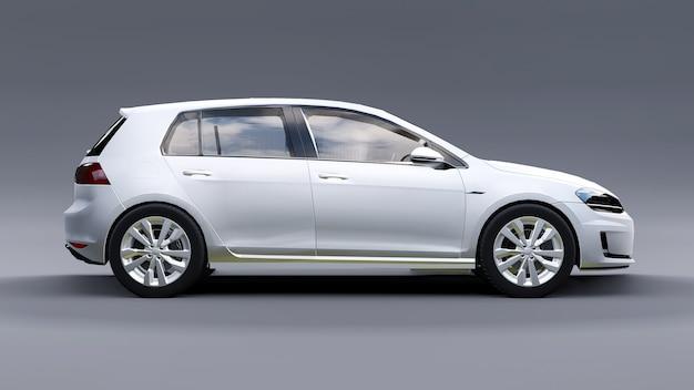 Porta traseira branca do carro pequeno da família em fundo cinza. renderização 3d. Foto Premium