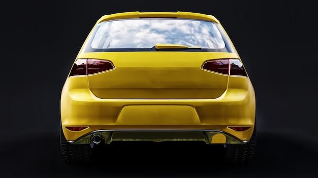Porta traseira do carro familiar pequeno amarelo sobre fundo preto. renderização 3d.