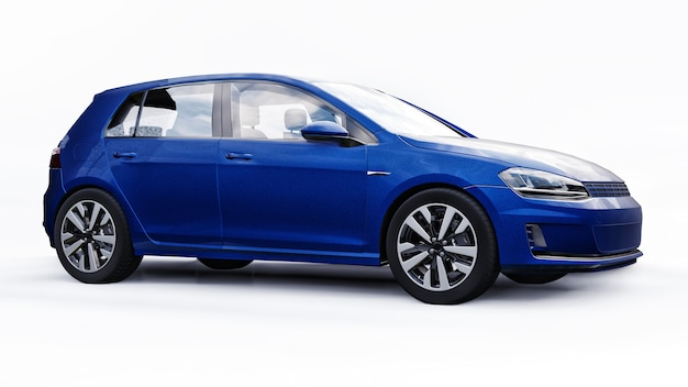 Porta traseira do carro familiar pequeno azul sobre fundo branco. renderização 3d.