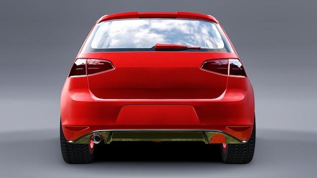 Porta traseira pequena vermelha do carro da família em fundo cinza. renderização 3d.