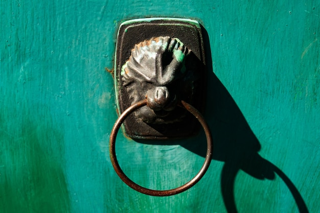 Porta verde antiga com alça em forma de leão