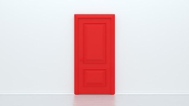 Porta vermelha fechada em parede branca