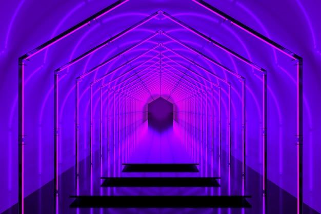 Portal 3d de pódio de cor violeta brilhante com luzes de néon