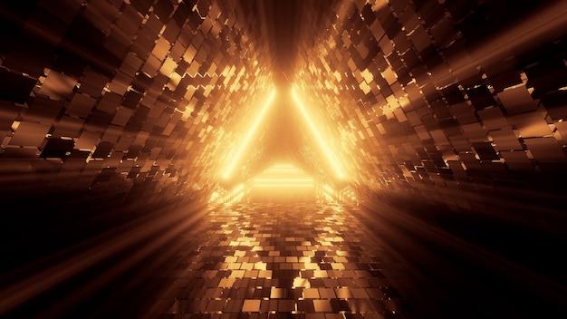 Portal de belas luzes de néon com linhas laranja brilhantes em um fundo de túnel