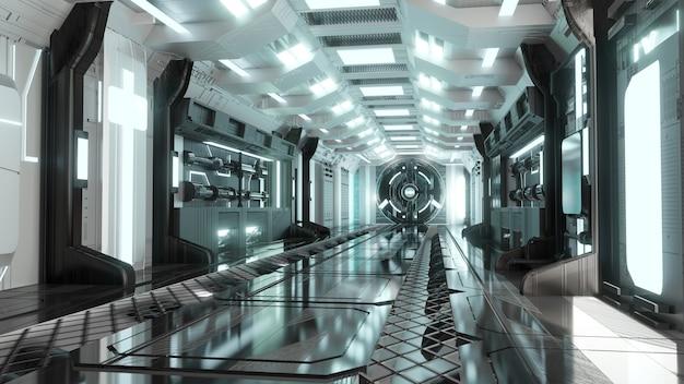 Portal de néon brilhante futurista corredor de ficção científica