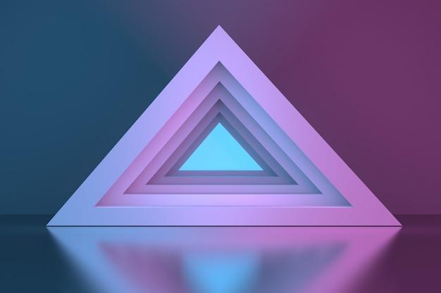 Portal do túnel da pirâmide triangular sobre a superfície do espelho