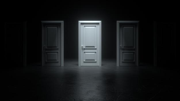 Portas brancas fechadas em uma sala escura com luz brilhante posicionadas em uma fileira