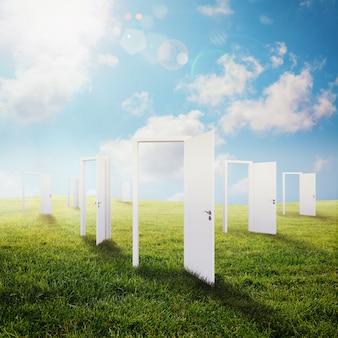 Portas brancas se abrem em um prado verde