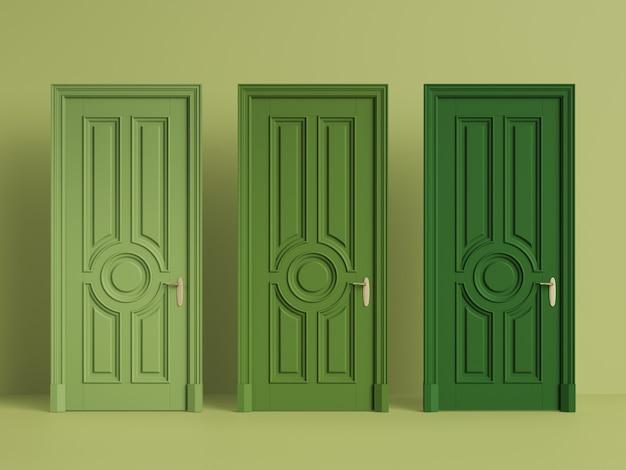 Portas clássicas sobre fundo verde