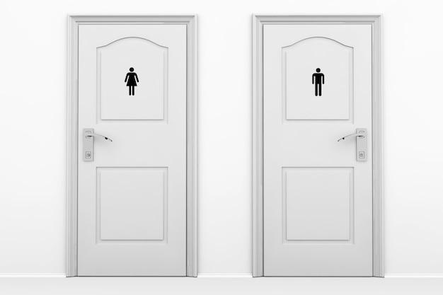 Portas de banheiro para sexos masculino e feminino em chave cinza