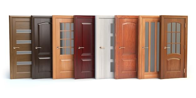 Portas de madeira isoladas em branco. design de interiores ou conceito de marketing. ilustração 3d