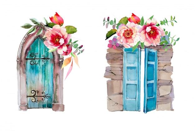Portas velhas pintadas à mão em aquarela com desenhos de flores. ilustração de portas antigas.