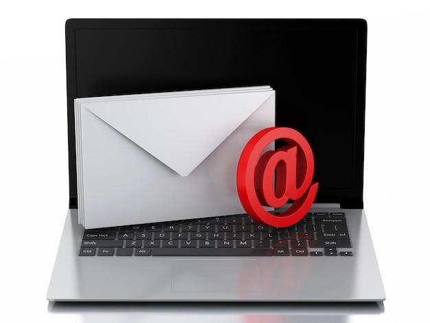 Portátil 3d com envelopes. conceito de e-mail