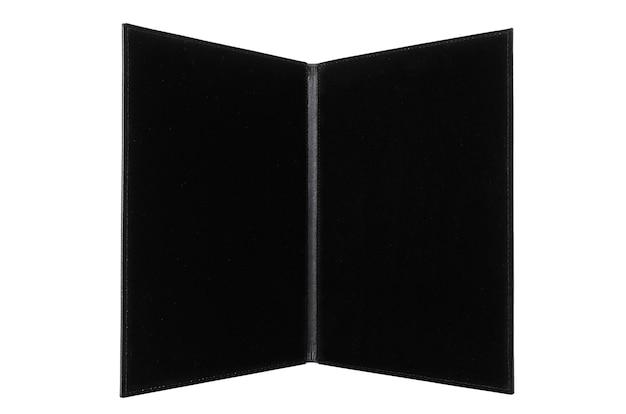 Portfólio aberto de couro para documentos em um fundo branco.