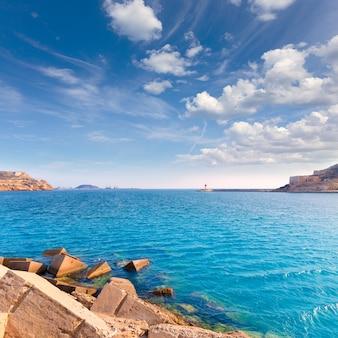 Porto de cartagena em múrcia no mediterrâneo espanha
