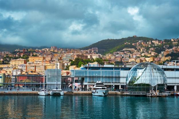 Porto de gênova com iates e barcos gênova itália