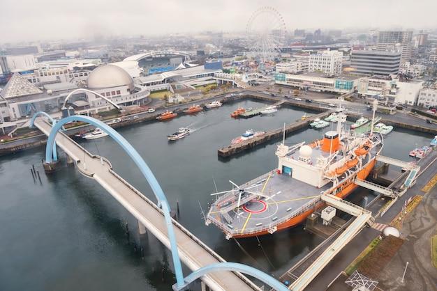 Porto de nagoya pela vista superior, japão
