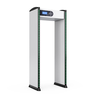 Portões de passo a passo de segurança segura com detectores de metal em um fundo branco. renderização 3d