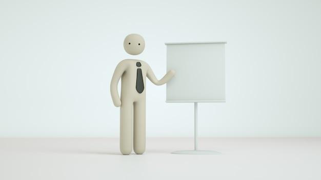 Pose de personagem 3d render negócios pictograma