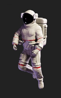 Pose do astronauta da ilustração 3d contra isolado no fundo preto com trajeto de grampeamento.