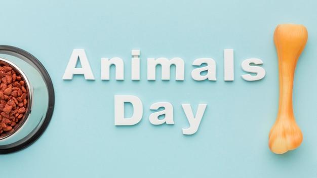 Posição plana da tigela de comida com osso para o dia do animal