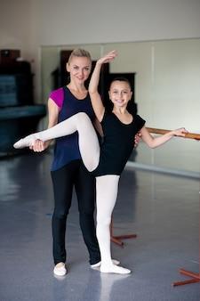 Posições de ensino na escola de balé.