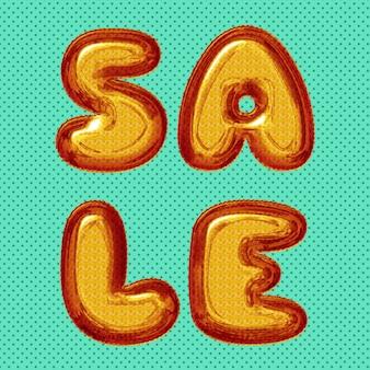 Post de venda de mídia social com letras de balão amarelo laranja vermelho