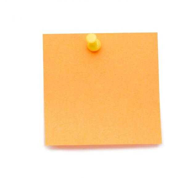 Post-it de laranja com pino de desenho