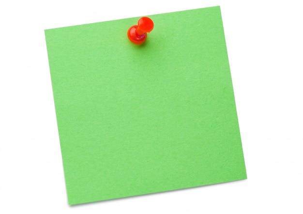 Post-it verde com pino de desenho