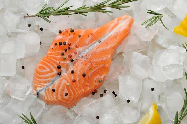 Posta de salmão em cubos de gelo